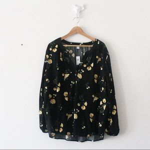 NWT Old Navy Floral Button Peasant Blouse Shirt